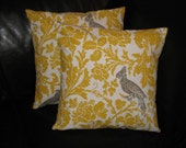"Handmade Pillow Covers 26"" Euro Shams bird Throw Pillows yellow TWO 26 inch Accent Pillows"