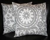 """Decorative Pillows EUROS gray SUZANI 26 inch pillows set of TWO storm grey on white 26"""""""