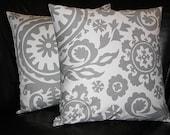 "Throw Pillows 18"" grey on white SUZANI 18x18 inch pillows set of TWO storm gray Accent Pillows"