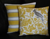 "Yellow Pillows Set of Two COVERS 20 inch Accent Pillows 20"" pillowcase Yellow, White, Taupe LuLu Stripe & Dot Barber Bird"