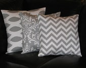 "Pillows Decorative Pillows gray TRIO Ikat, damask, chevron 18x18 inch Throw Pillow Covers 18"" storm grey on white Zig Zag"