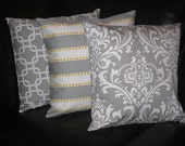 """Decorative Pillows Storm Gray 18"""" TRIO Throw Pillow Cover 18 inches Chain Link, LuLu, Damask set of THREE corn yellow, grey and white"""