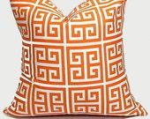 """Orange Decorative Pillows 16x16 Throw Pillow Cover 16"""" Tangerine & White Greek Key set of TWO"""