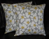 "Grey and Yellow Pillows 18"" Set of TWO Accent Pillows 18x18 Decorator Pillow Covers Gray"