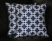 """Accent Pillows Navy set of Two 16x16 inch Pillow Covers 16"""" Dark Blue & White Chain Link PREMIER PRINTS Gotcha"""