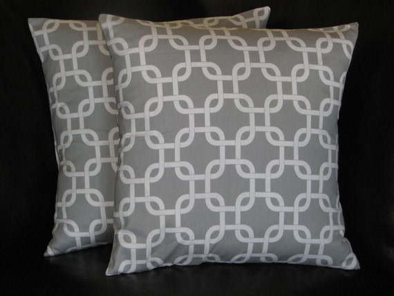 26 Inch Decorative Pillow Covers : Items similar to Euro Shams Decorative Pillow Covers gray 26 inch storm grey on white Chain Link ...