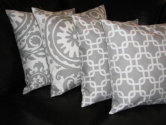 Items similar to Decorative Pillows grey Throw Pillow Covers Two SETS suzani, chain link 18x18 ...