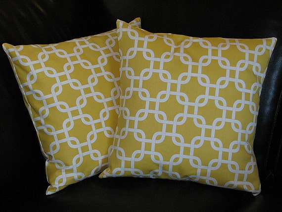 "Yellow Pillows 26"" set of TWO Corn Yellow and White Chain Link Pillow COVERS 26x26 Inch Euro Shams"