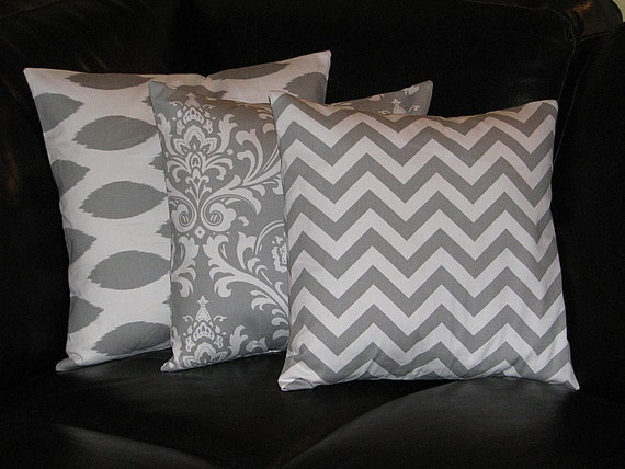 Decorative Pillow Trio : Items similar to Pillows Decorative Pillows gray TRIO Ikat, damask, chevron 18x18 inch Throw ...