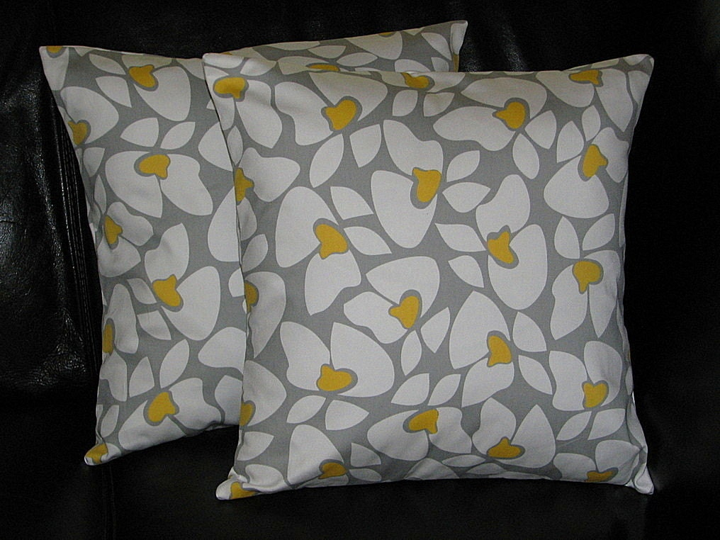 Pillow Decorative Pillows Grey and Yellow by LittlePeepsHomeDecor