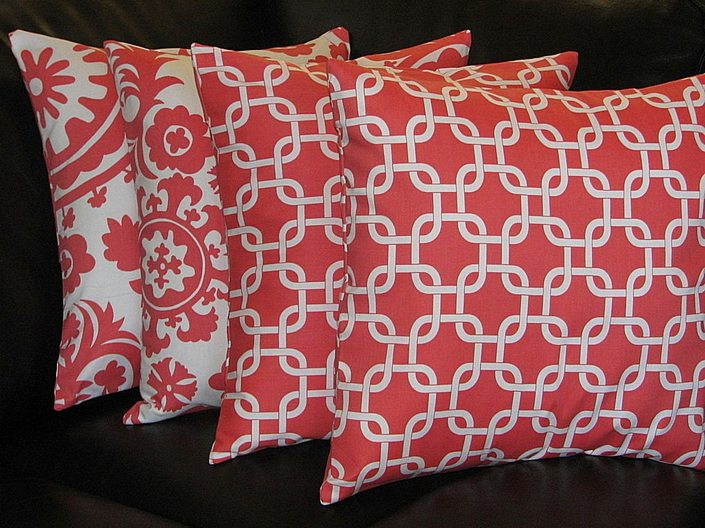 Items similar to Decorative Pillows CORAL Throw Pillows FOUR 20 inch Pillow Covers Suzani, Chain ...