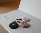 Simple Felt Hair Clips . Little girl hair clips . Pink, Gray & White . Geometric . Gumdrop Trio in Smoky Rose