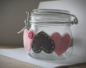 Valentines Heart Headband - Love me - Felt Headband in Soft Pink, Gray and White with Button detail