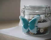 Turquoise Butterfly Headband - Bebe Papillon Band in Turquoise and Sky . Newborn Felt  Headband . Butterflies