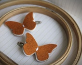 Fall Butterfly hair Clip set - Pumpkin Spice Butterfly Hair clips . Little girl hair clips.Back to school fashion