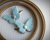 Butterfly hair Clip set - Sky Blue Butterfly Hair clips with Glitter Silver Center .  Petite Papillon in Winter blue & silver .