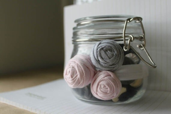 Upcycled Rosette Trio Band in Soft Pink and Gray - Rolled Rosette Headband