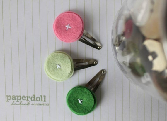 Simple Felt Hair Clips Pink & Green . Gumdrop Trio in Strawberry Fields - geometric . Wool Felt Hair Clips grass apple bubblegum