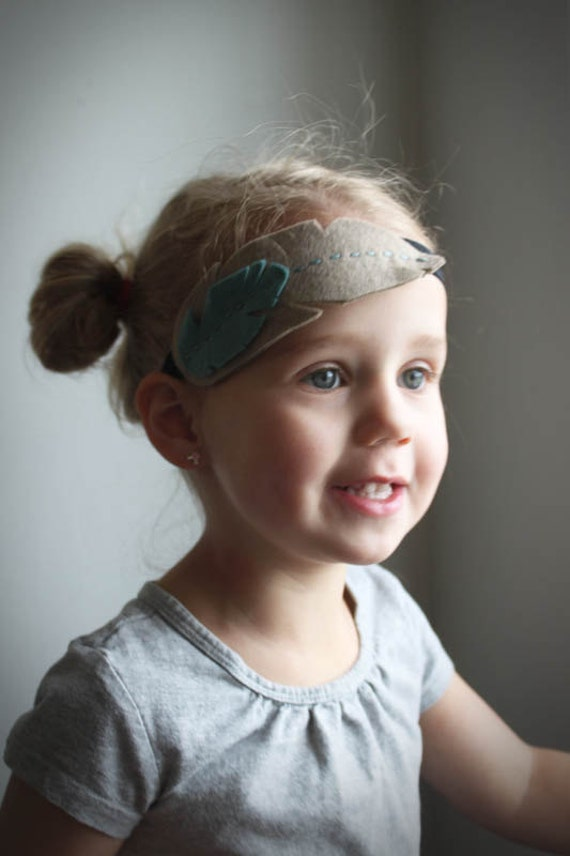 Feather Headband - Mod Feather Headband -  Neutral Fawn & Sage Green - Felt Feather  Natural History  Tribal Fashion  Little Girls headband