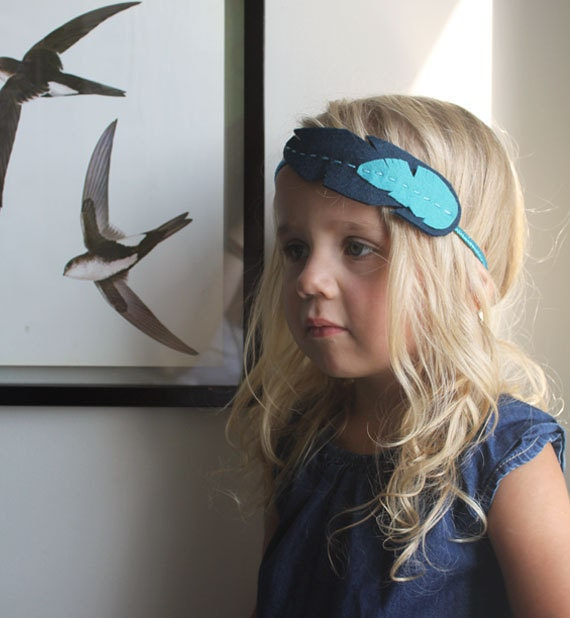 Feather Headband in Navy & Aqua on a glitter headband . Felt Feather Hair Accessory - Mod Feather Headband . felt feather. natural history .