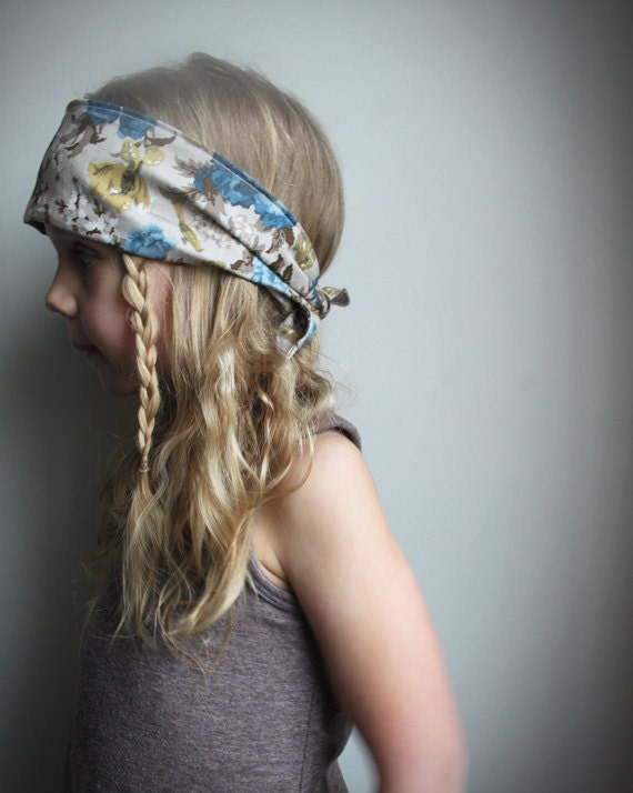 Reserved for Joanne. Bandana headband - fall fashion Vintage style Floral Fabric headband - Tie up headband - Blue Brown & Mustard