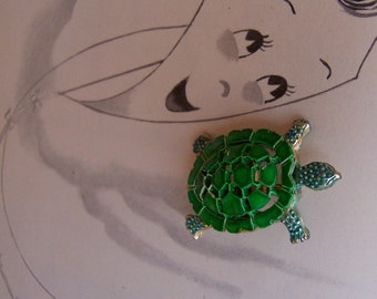 tiny green turtle brooch