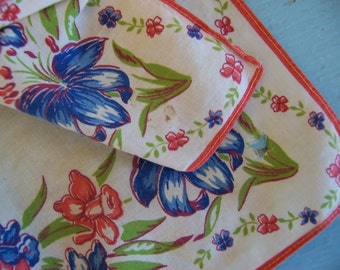 tiny pink and blue flowers vintage hanky