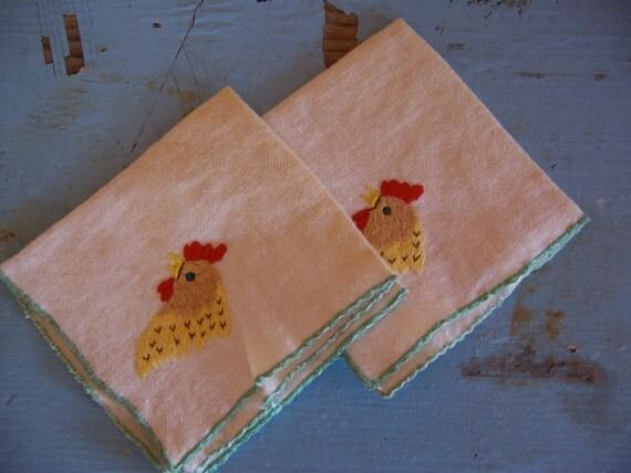 two adorable chicken cotton napkins