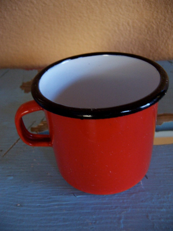 red enamel cup