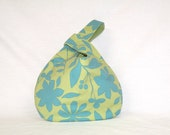 Wristlet Pouch in turquois and green botanical print