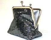 Formal Sequinned Palm Clutch in Gunmetal Grey with Nickel-Free Frame....Made to Order