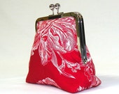 Palm Clutch/Wallet/Make Up Bag with Nickel Free Kisslock Frame in Gorgeous White Botanical Print on Red Background