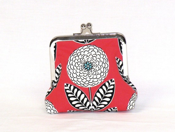 OOAK Nickel Free Kisslock Palm Clutch Mum floral print in tomato red/turquoise/white