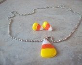 Candy Corn Necklace/Earring Set