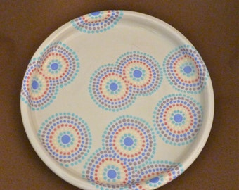 Dotty circles painted plate