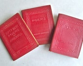 3 Books of Poems, LIttle Leather Library  Red Luxart Editions 1920's