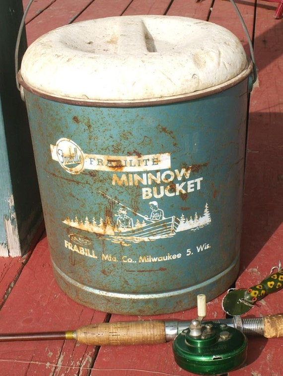 "Vintage Blue Bait Bucket  ""Fun Fishing Find"""