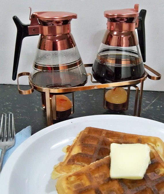 """Vintage Syrup Carafe Set - Copper Trimmed Glass - """"Take Waffles & Pancakes to the Next Level"""""""