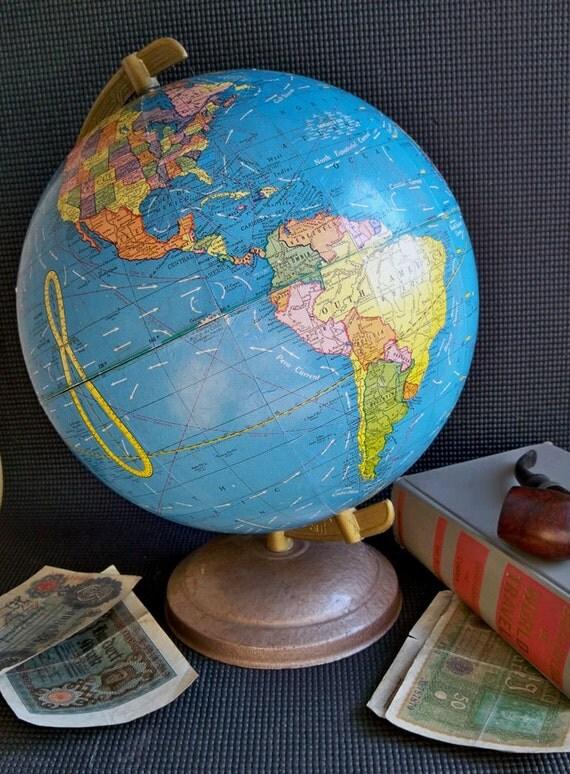 "1962 World Globe - Cram Scholastic 10.5"" - Beautiful Mid-Century Patina"