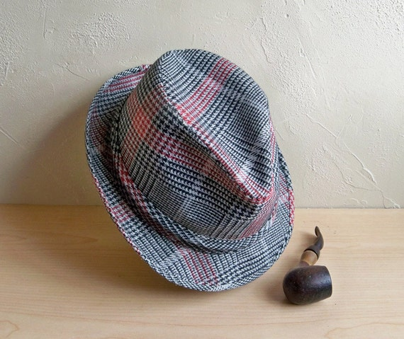 Mid-Century Mad Men Gray and Red Fedora Hat - Men's Size 7.5