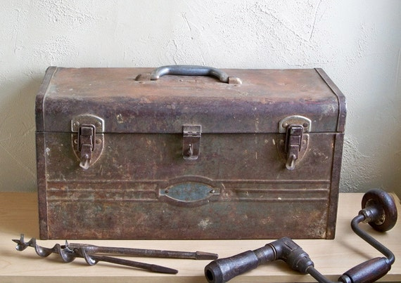 """Charming Old Distressed Sears Craftsman Metal Toolbox """"Shabby Industrial Perfection"""""""