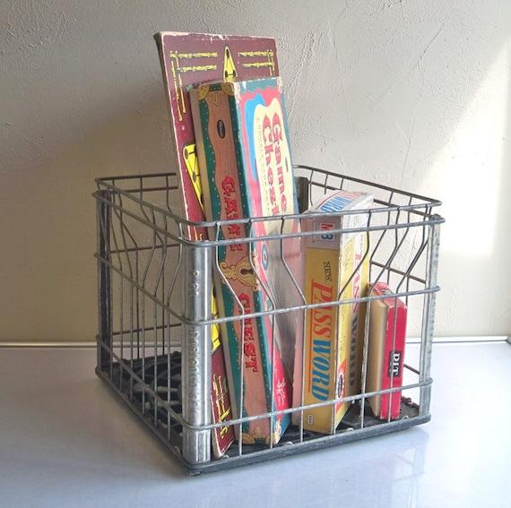 "Vintage Galvanized Wire Milk Crate - ""Shabby Industrial Stuff Stower"""