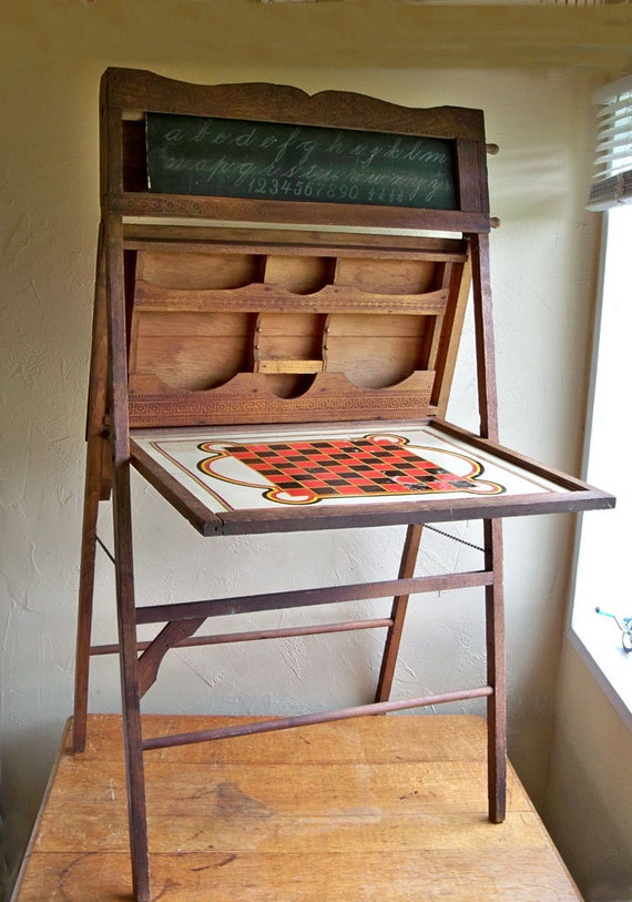 Antique Turn-of-the-Century Chalkboard Easel - Children's Learning and Games