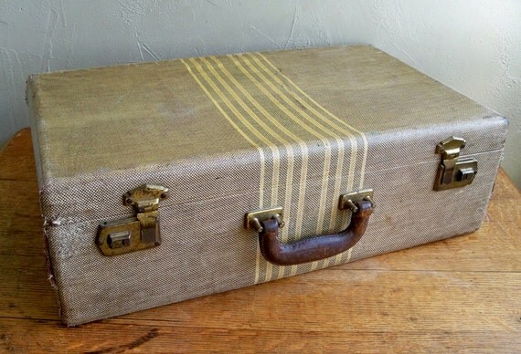 "Distressed Brown Tweed Hard Suitcase ""Great Decorator Piece"""