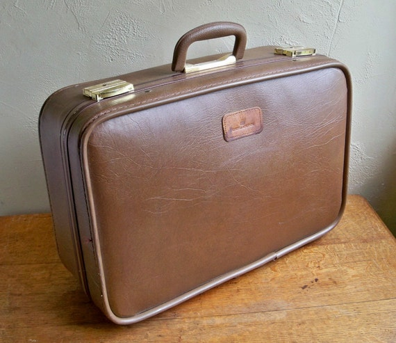 1970's Brown Skyway Suitcase with United Airlines Leather Logo