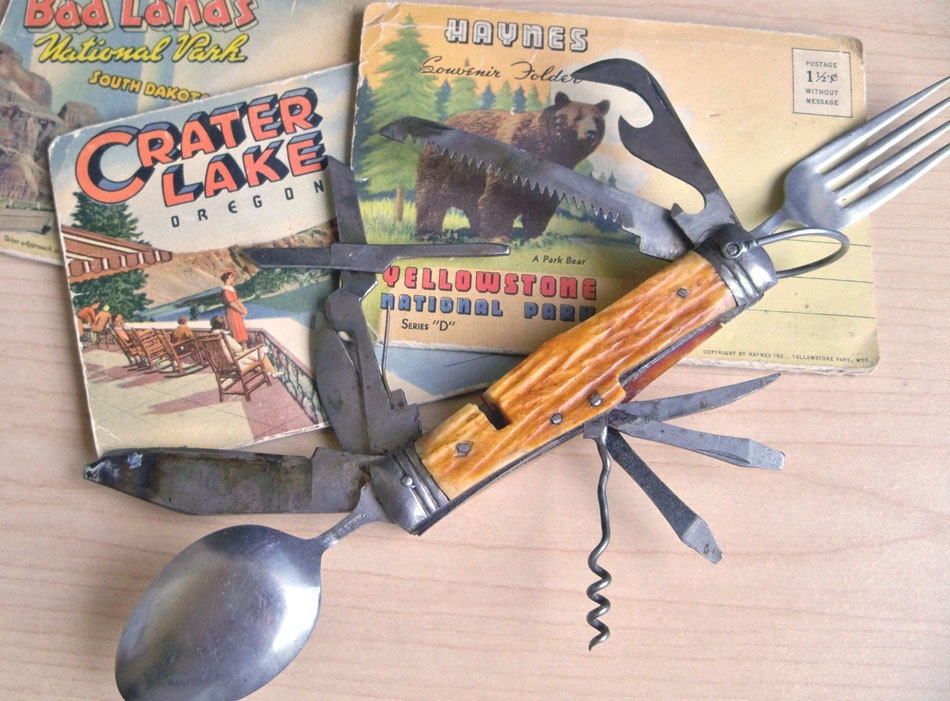 Vintage Camping Pocket Knife Mid Century Outdoor By