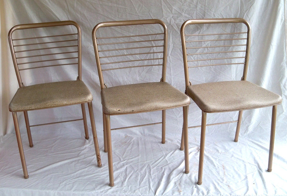 Set of 3 1955 Cosco Fashionfold Folding Chairs Mid Century