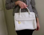 Vintage White Leather Purse Handbag Small Large Clutch