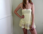 Yellow Lace Skirt Dress Slip Marie Antoinette Lingerie See Through