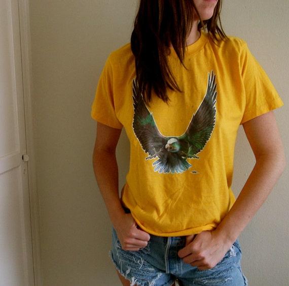 Vintage Cropped Tee Desert Eagle Crop Top Yellow Womens Bird America